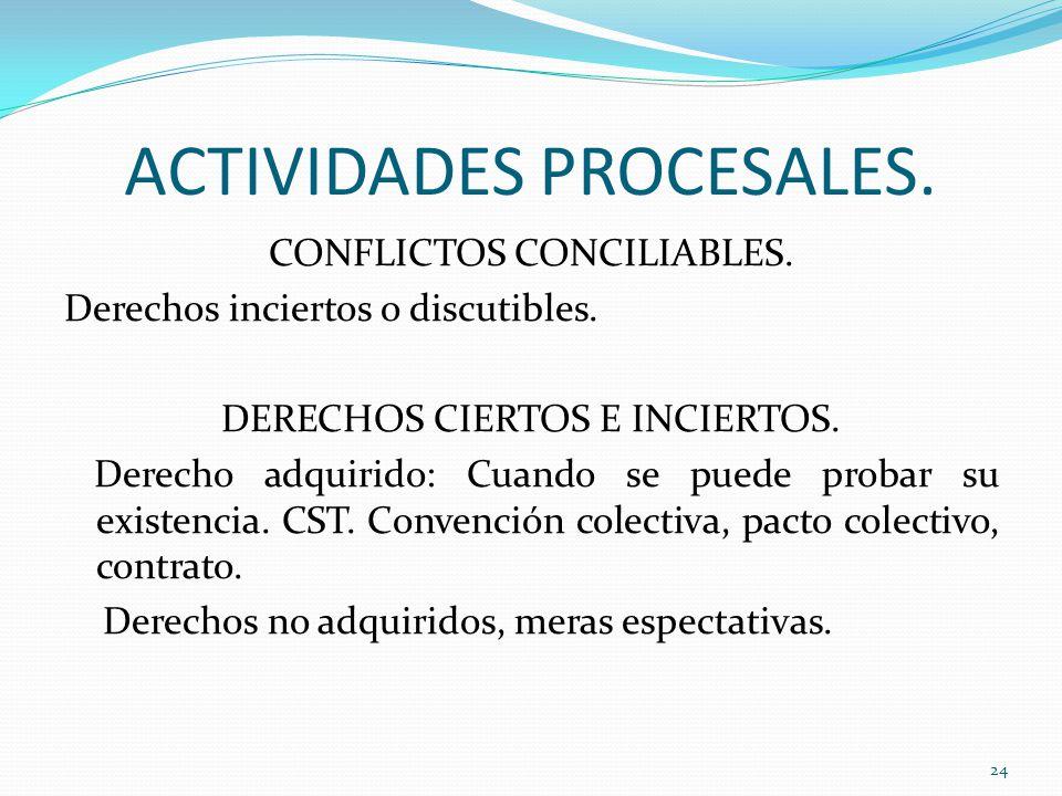 ACTIVIDADES PROCESALES.CONFLICTOS CONCILIABLES. Derechos inciertos o discutibles.