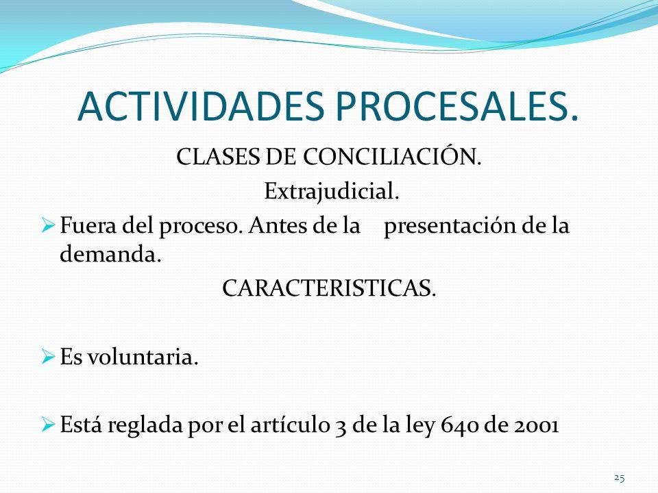 ACTIVIDADES PROCESALES.CLASES DE CONCILIACIÓN. Extrajudicial.