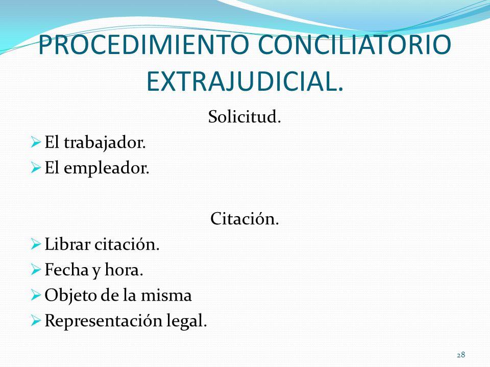 PROCEDIMIENTO CONCILIATORIO EXTRAJUDICIAL.Solicitud.