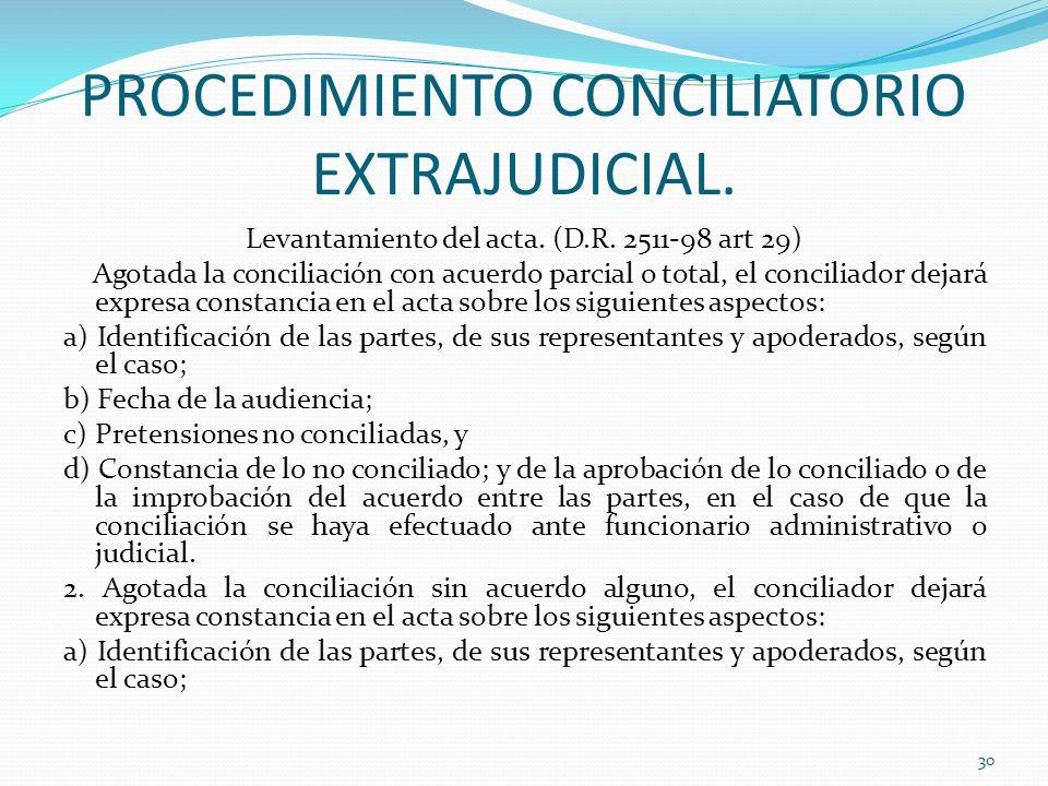 PROCEDIMIENTO CONCILIATORIO EXTRAJUDICIAL.Levantamiento del acta.