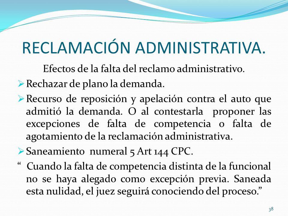 RECLAMACIÓN ADMINISTRATIVA.Efectos de la falta del reclamo administrativo.