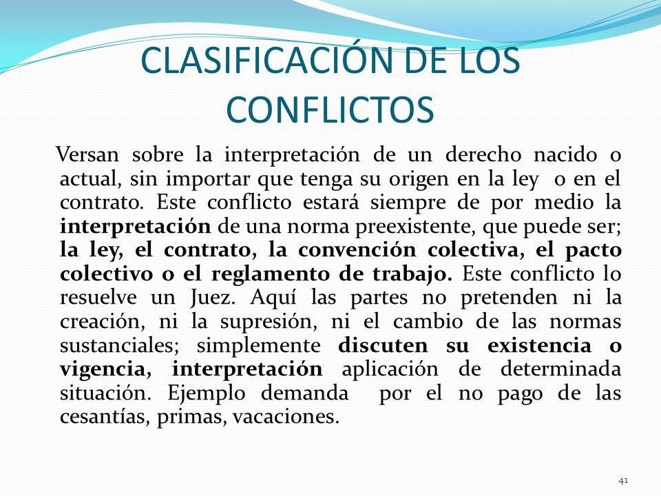 CLASIFICACIÓN DE LOS CONFLICTOS Versan sobre la interpretación de un derecho nacido o actual, sin importar que tenga su origen en la ley o en el contrato.