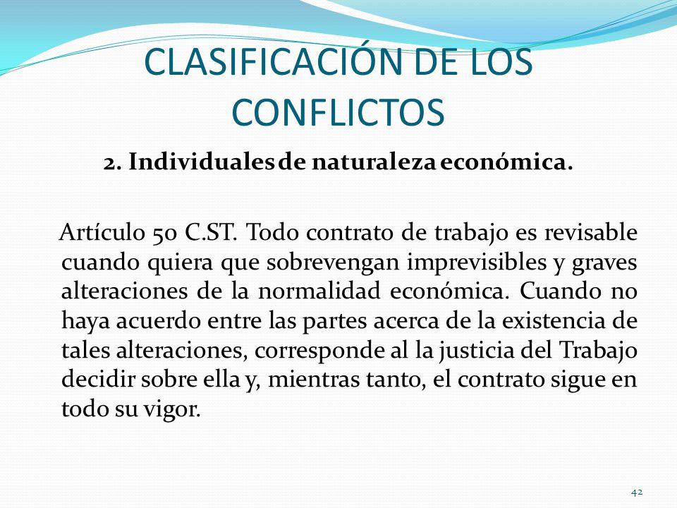 CLASIFICACIÓN DE LOS CONFLICTOS 2.Individuales de naturaleza económica.