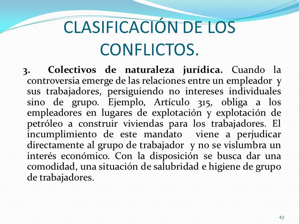 CLASIFICACIÓN DE LOS CONFLICTOS.3. Colectivos de naturaleza jurídica.