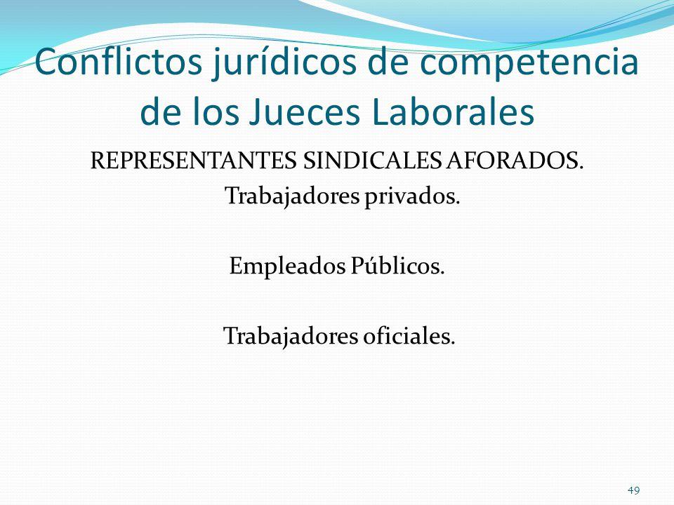 Conflictos jurídicos de competencia de los Jueces Laborales REPRESENTANTES SINDICALES AFORADOS.