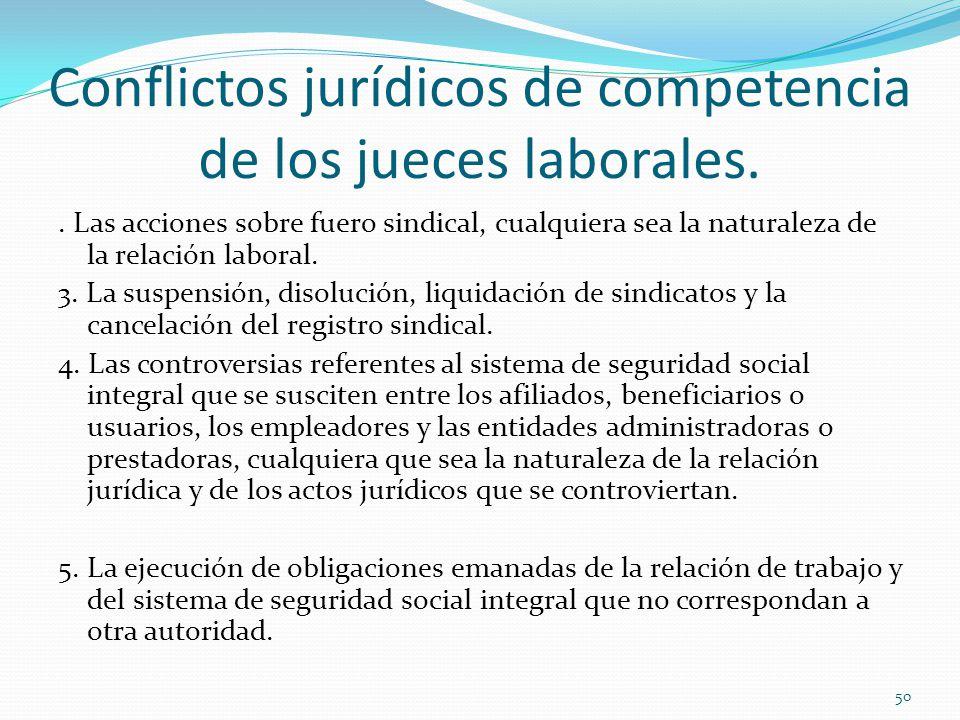 Conflictos jurídicos de competencia de los jueces laborales..