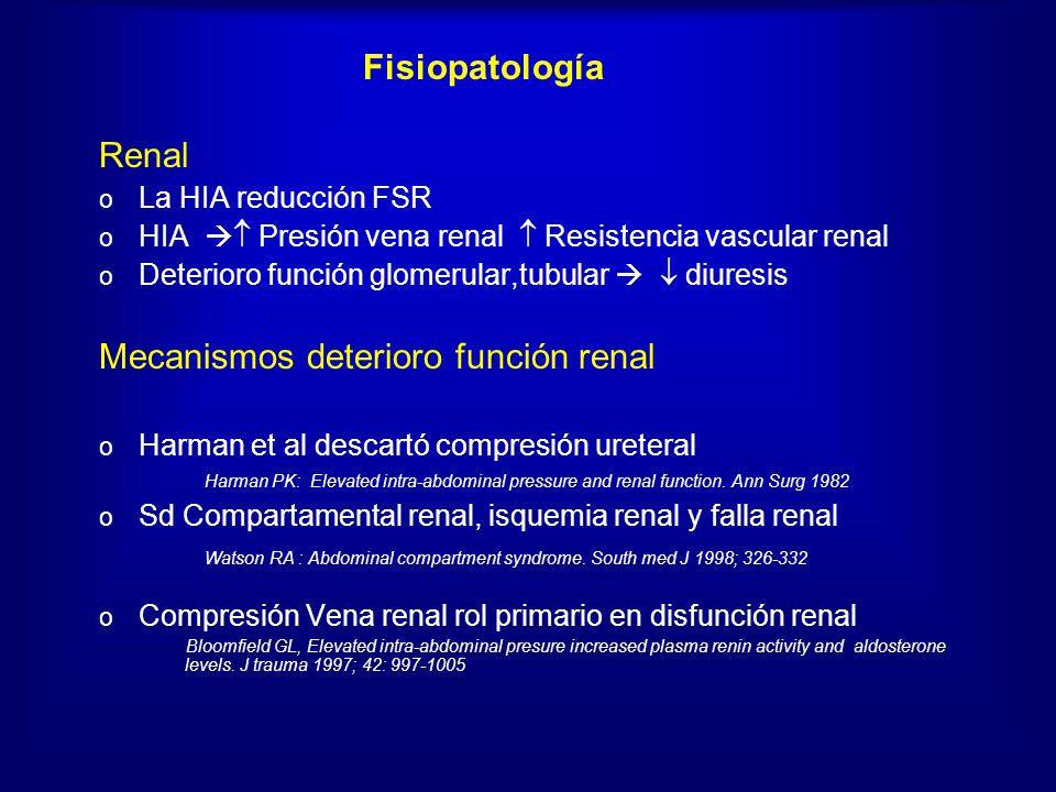 Fisiopatología Renal o La HIA reducción FSR o HIA Presión vena renal Resistencia vascular renal o Deterioro función glomerular,tubular diuresis Mecani