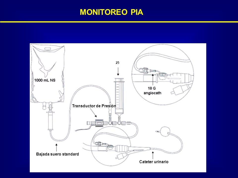 Transductor de Presión Bajada suero standard Cateter urinario MONITOREO PIA 25