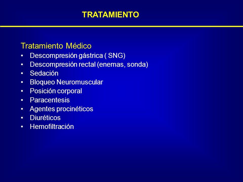 TRATAMIENTO Tratamiento Médico Descompresión gástrica ( SNG) Descompresión rectal (enemas, sonda) Sedación Bloqueo Neuromuscular Posición corporal Par