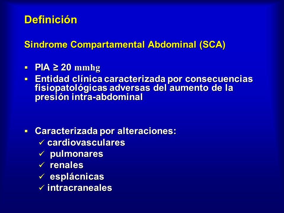 Definición Sindrome Compartamental Abdominal (SCA) PIA 20 mmhg PIA 20 mmhg Entidad clínica caracterizada por consecuencias fisiopatológicas adversas d
