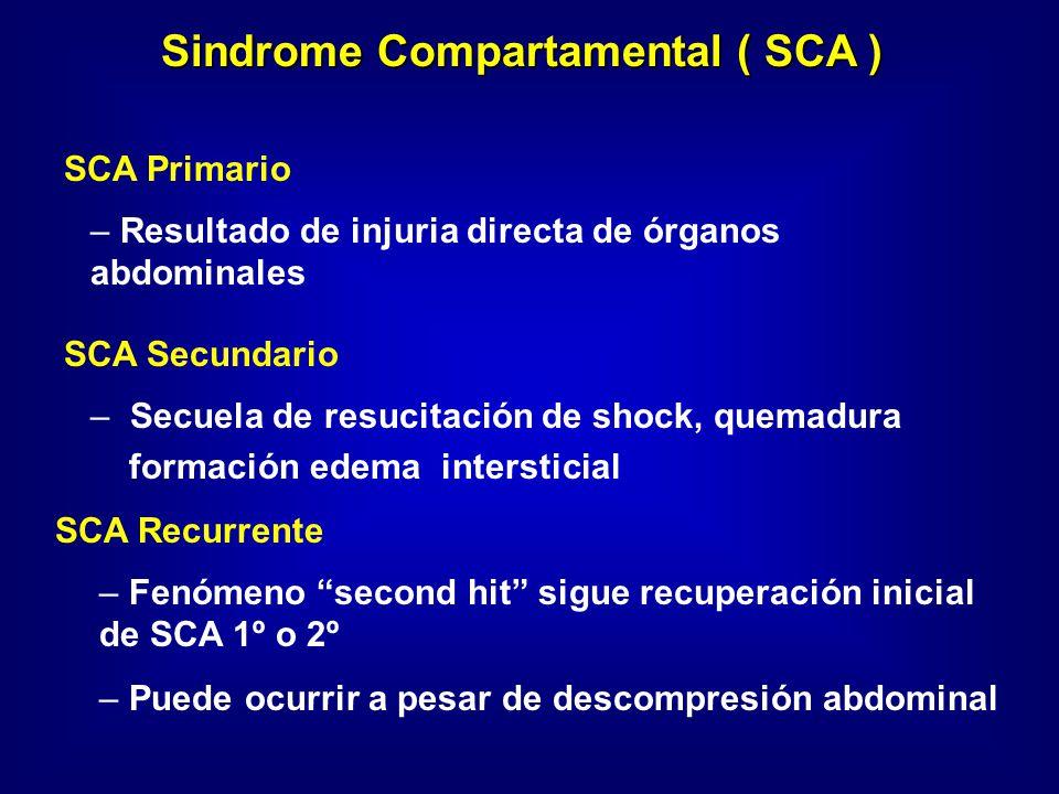 SCA Primario – – Resultado de injuria directa de órganos abdominales SCA Secundario – – Secuela de resucitación de shock, quemadura formación edema in