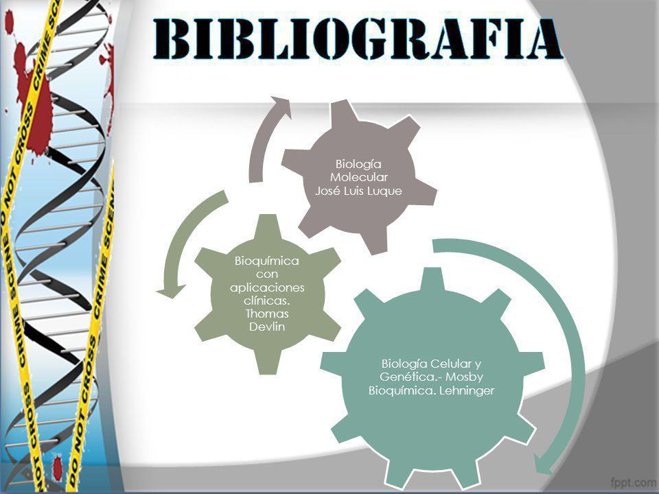 Biología Celular y Genética.- Mosby Bioquímica. Lehninger Bioquímica con aplicaciones clínicas. Thomas Devlin Biología Molecular José Luis Luque