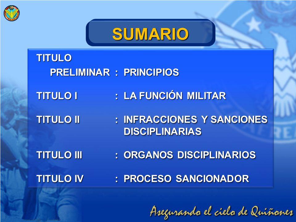 TITULO PRELIMINAR:PRINCIPIOS PRELIMINAR:PRINCIPIOS TITULO I:LA FUNCIÓN MILITAR TITULO II:INFRACCIONES Y SANCIONES DISCIPLINARIAS TITULO III:ORGANOS DI