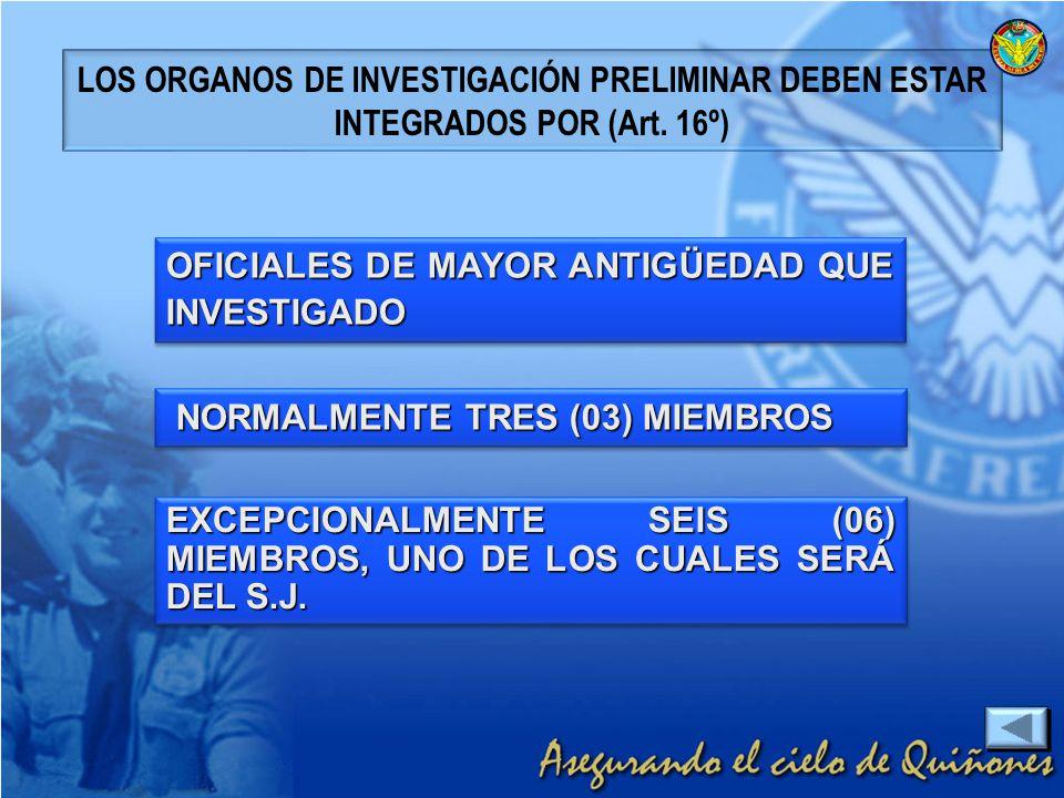EXCEPCIONALMENTE SEIS (06) MIEMBROS, UNO DE LOS CUALES SERÁ DEL S.J. OFICIALES DE MAYOR ANTIGÜEDAD QUE INVESTIGADO NORMALMENTE TRES (03) MIEMBROS NORM