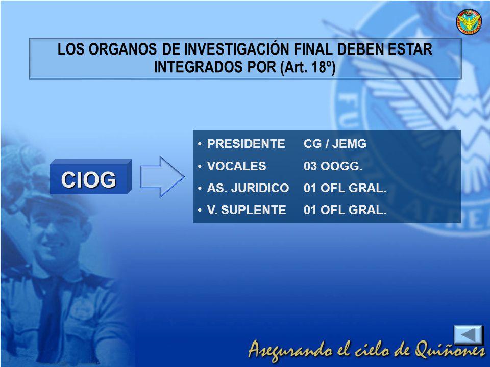 PRESIDENTECG / JEMG VOCALES03 OOGG. AS. JURIDICO01 OFL GRAL. V. SUPLENTE01 OFL GRAL. LOS ORGANOS DE INVESTIGACIÓN FINAL DEBEN ESTAR INTEGRADOS POR (Ar