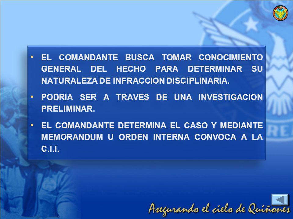EL COMANDANTE BUSCA TOMAR CONOCIMIENTO GENERAL DEL HECHO PARA DETERMINAR SU NATURALEZA DE INFRACCION DISCIPLINARIA. PODRIA SER A TRAVES DE UNA INVESTI