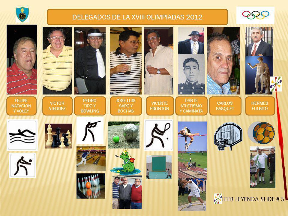 DELEGADOS DE LA XVIII OLIMPIADAS 2012 FELIPE NATACION Y VOLEY VICTOR AJEDREZ PEDRO TIRO Y BOWLING JOSE LUIS SAPO Y BOCHAS VICENTE FRONTON DANTE ATLETI