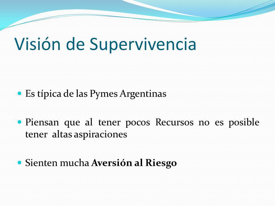 Visión de Supervivencia Es típica de las Pymes Argentinas Piensan que al tener pocos Recursos no es posible tener altas aspiraciones Sienten mucha Ave