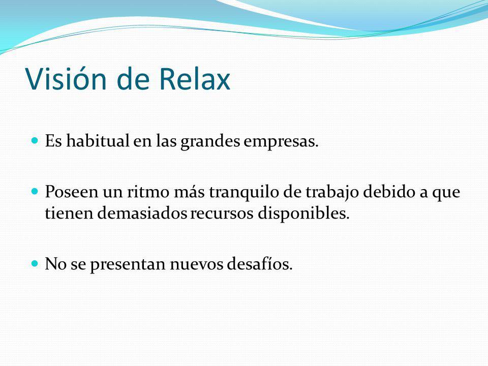 Visión de Relax Es habitual en las grandes empresas. Poseen un ritmo más tranquilo de trabajo debido a que tienen demasiados recursos disponibles. No