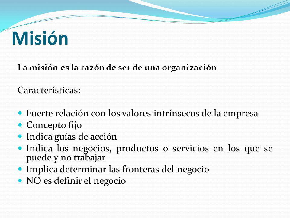 Misión La misión es la razón de ser de una organización Características: Fuerte relación con los valores intrínsecos de la empresa Concepto fijo Indic