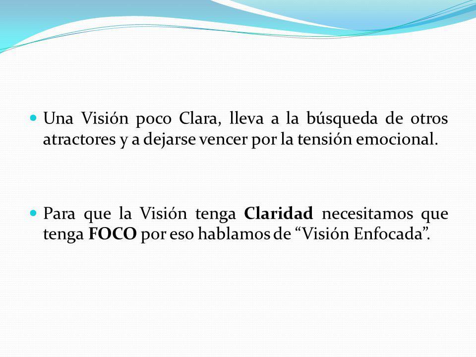 Una Visión poco Clara, lleva a la búsqueda de otros atractores y a dejarse vencer por la tensión emocional. Para que la Visión tenga Claridad necesita