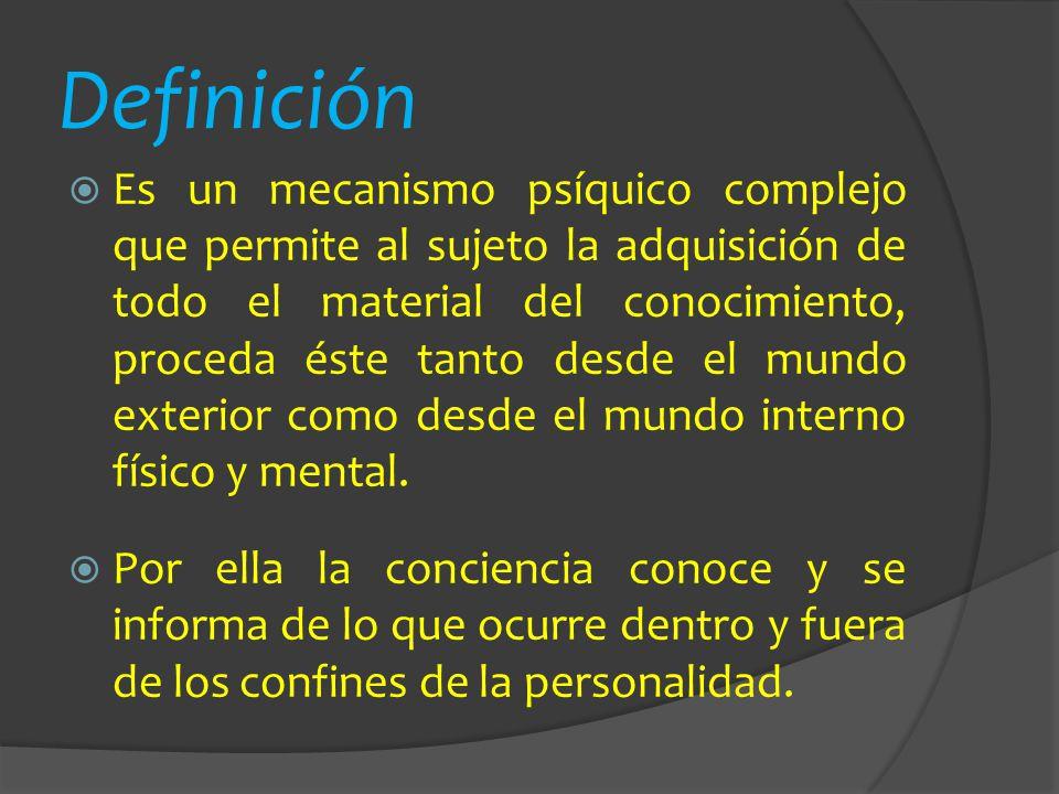 Definición Es un mecanismo psíquico complejo que permite al sujeto la adquisición de todo el material del conocimiento, proceda éste tanto desde el mu