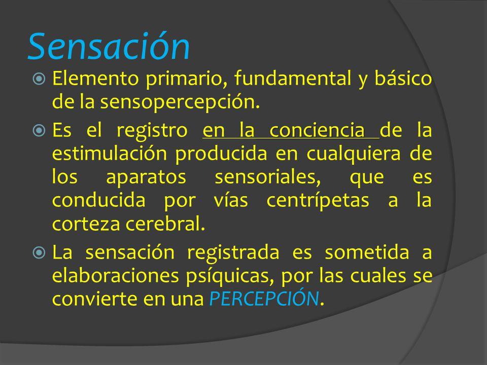 Sensación Elemento primario, fundamental y básico de la sensopercepción. conciencia Es el registro en la conciencia de la estimulación producida en cu