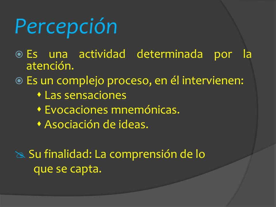 Percepción Es una actividad determinada por la atención. Es un complejo proceso, en él intervienen: Las sensaciones Evocaciones mnemónicas. Asociación
