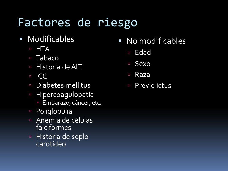 Factores de riesgo Modificables HTA Tabaco Historia de AIT ICC Diabetes mellitus Hipercoagulopatía Embarazo, cáncer, etc. Poliglobulia Anemia de célul