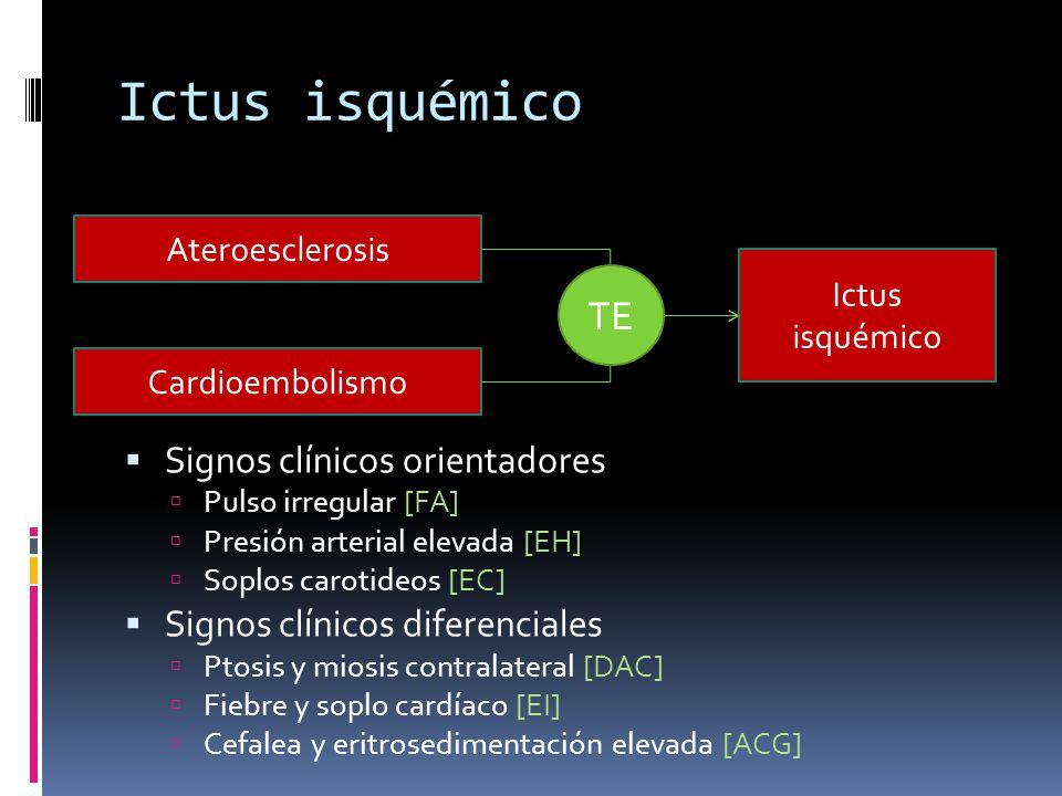 Ictus isquémico Signos clínicos orientadores Pulso irregular [FA] Presión arterial elevada [EH] Soplos carotideos [EC] Signos clínicos diferenciales P