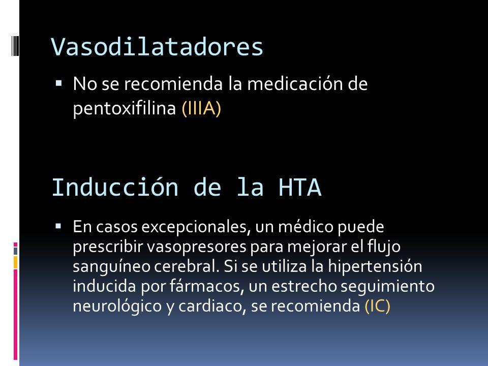 Vasodilatadores No se recomienda la medicación de pentoxifilina (IIIA) Inducción de la HTA En casos excepcionales, un médico puede prescribir vasopres
