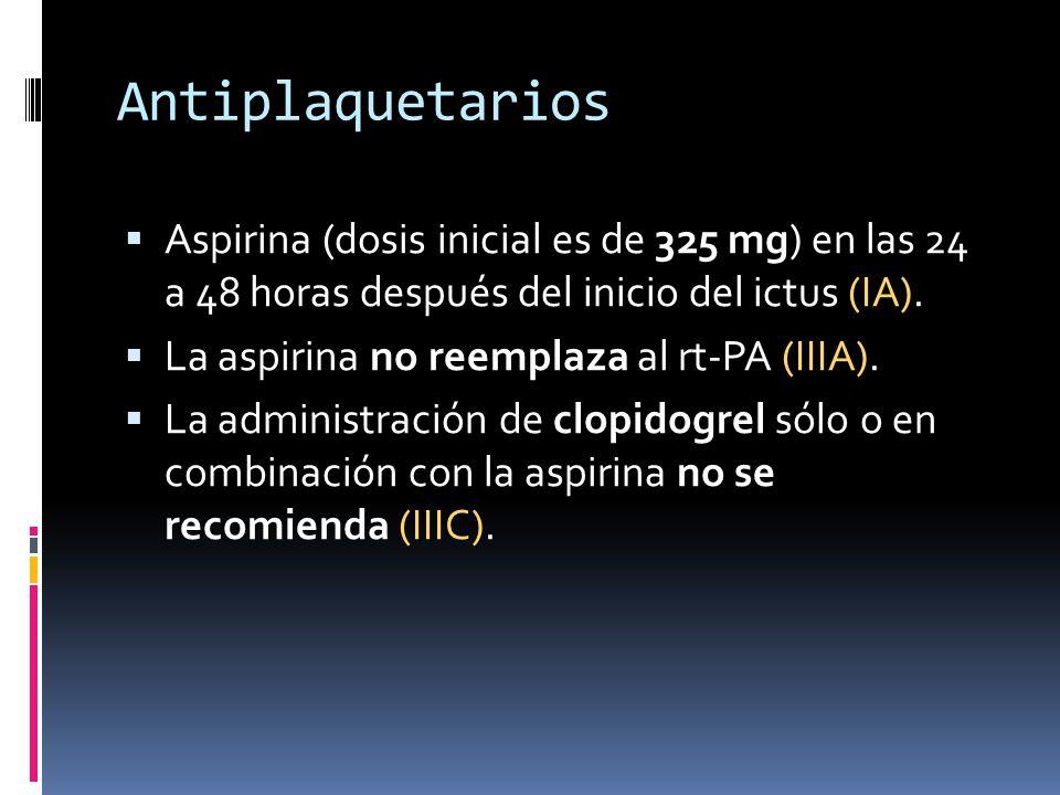 Antiplaquetarios Aspirina (dosis inicial es de 325 mg) en las 24 a 48 horas después del inicio del ictus (IA). La aspirina no reemplaza al rt-PA (IIIA