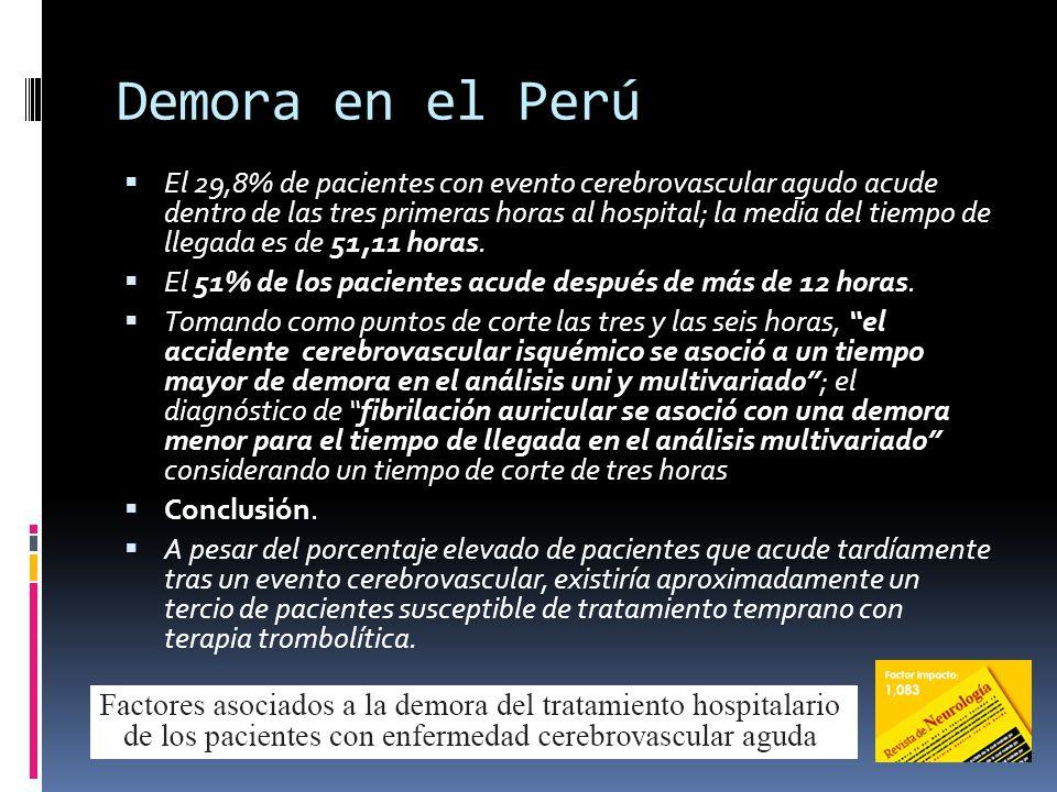 Demora en el Perú El 29,8% de pacientes con evento cerebrovascular agudo acude dentro de las tres primeras horas al hospital; la media del tiempo de l