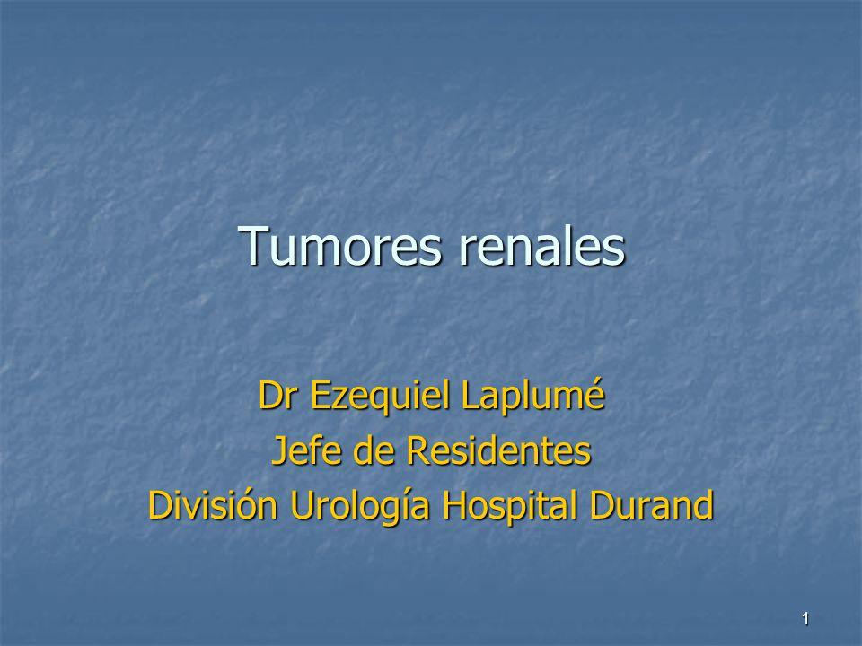 Tumores renales Dr Ezequiel Laplumé Jefe de Residentes División Urología Hospital Durand 1