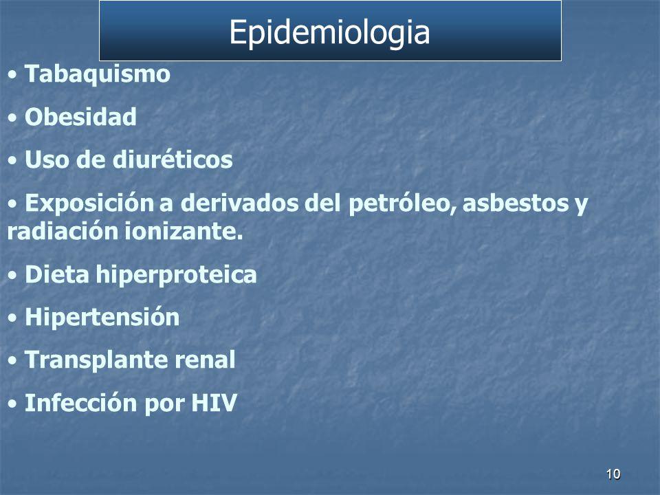 Tabaquismo Obesidad Uso de diuréticos Exposición a derivados del petróleo, asbestos y radiación ionizante.