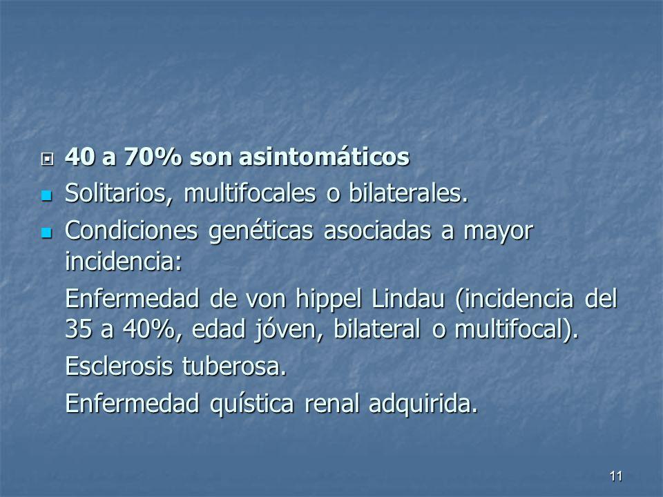40 a 70% son asintomáticos 40 a 70% son asintomáticos Solitarios, multifocales o bilaterales.