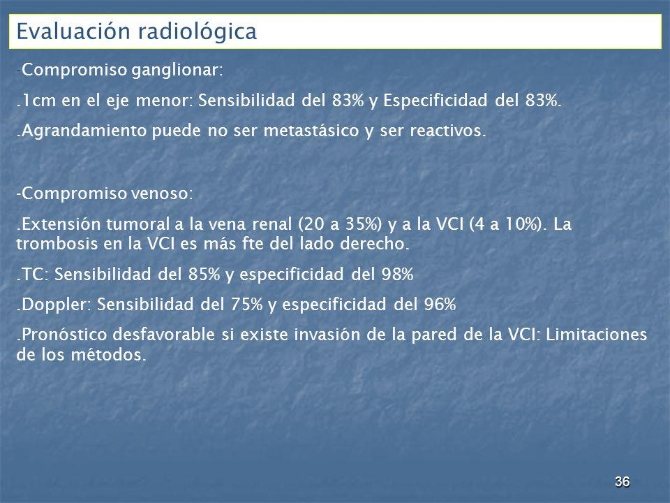 Evaluación radiológica -Compromiso ganglionar:.1cm en el eje menor: Sensibilidad del 83% y Especificidad del 83%..Agrandamiento puede no ser metastásico y ser reactivos.