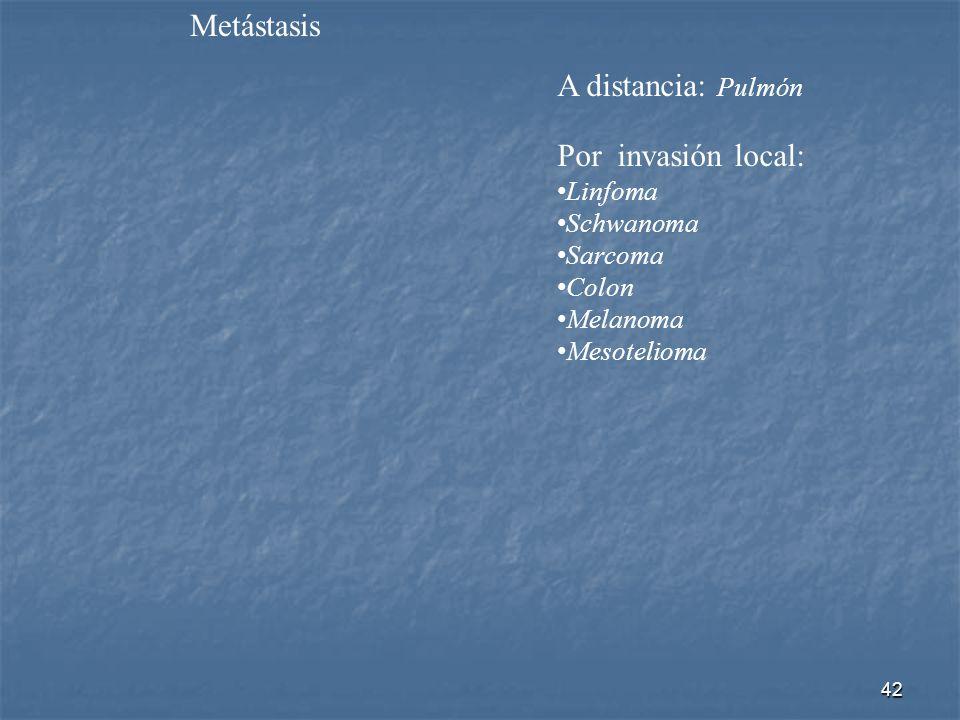 Metástasis A distancia: Pulmón Por invasión local: Linfoma Schwanoma Sarcoma Colon Melanoma Mesotelioma 42