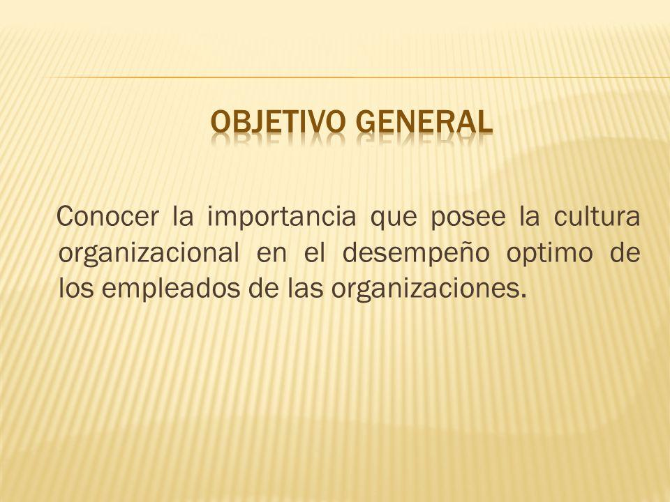 Conocer la importancia que posee la cultura organizacional en el desempeño optimo de los empleados de las organizaciones.