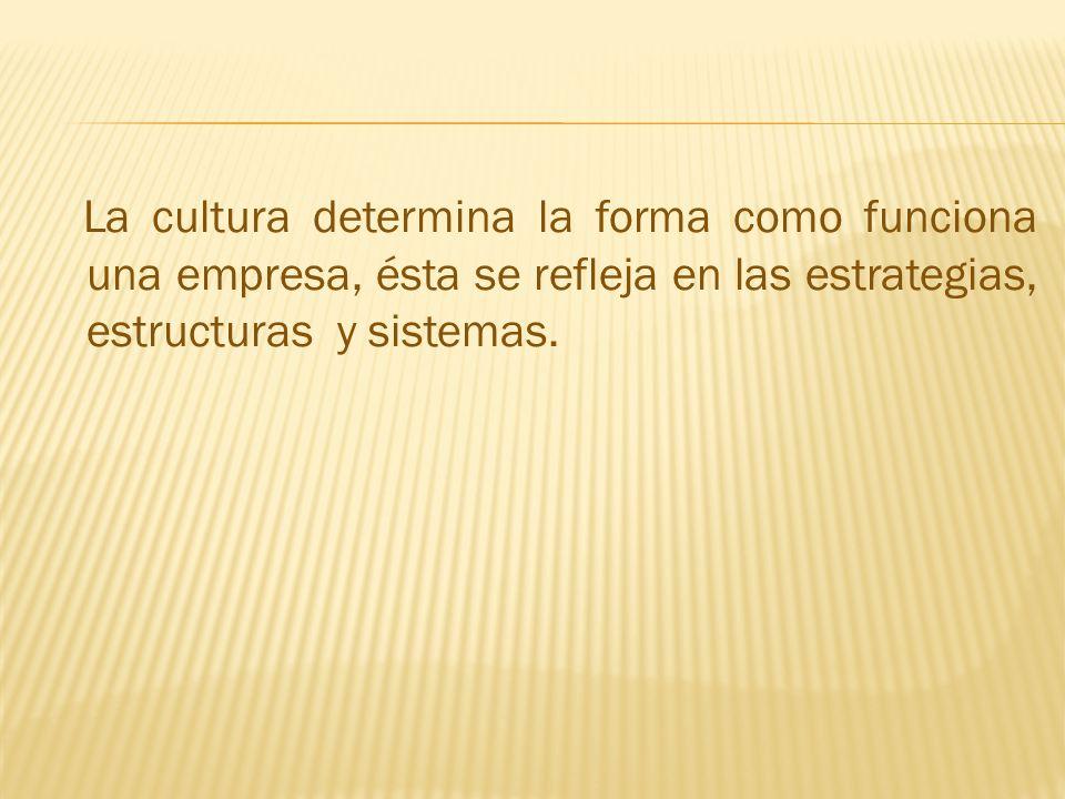 La cultura determina la forma como funciona una empresa, ésta se refleja en las estrategias, estructuras y sistemas.