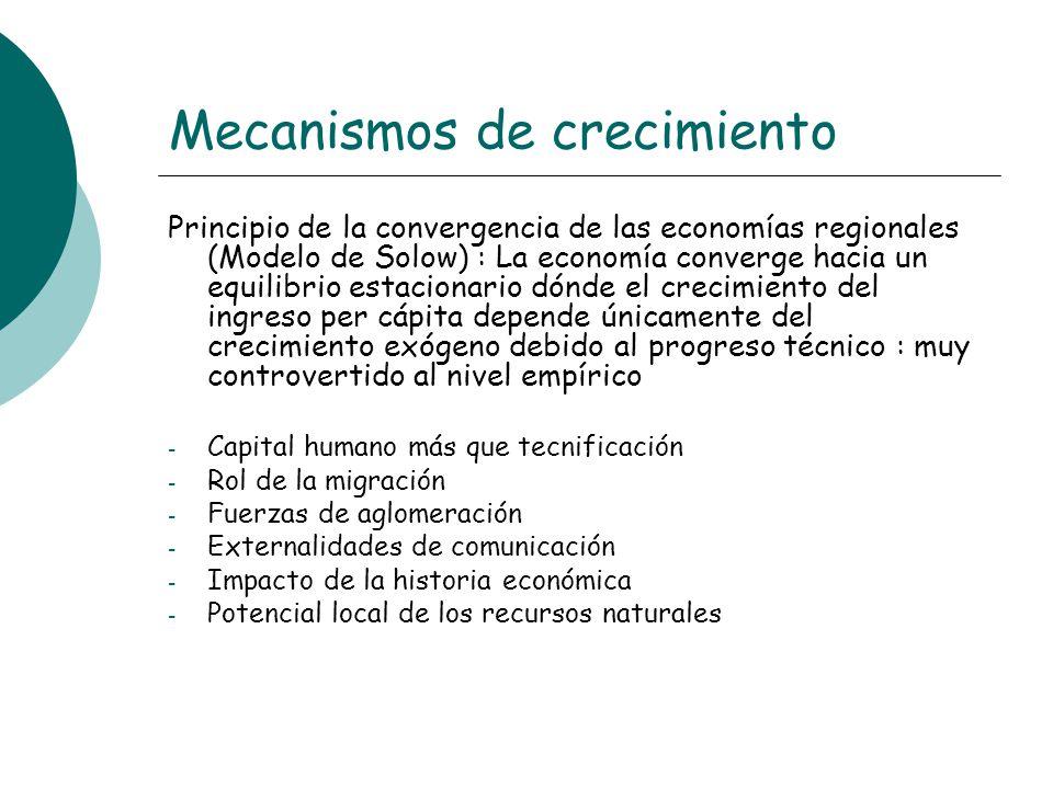 Mecanismos de crecimiento Principio de la convergencia de las economías regionales (Modelo de Solow) : La economía converge hacia un equilibrio estaci