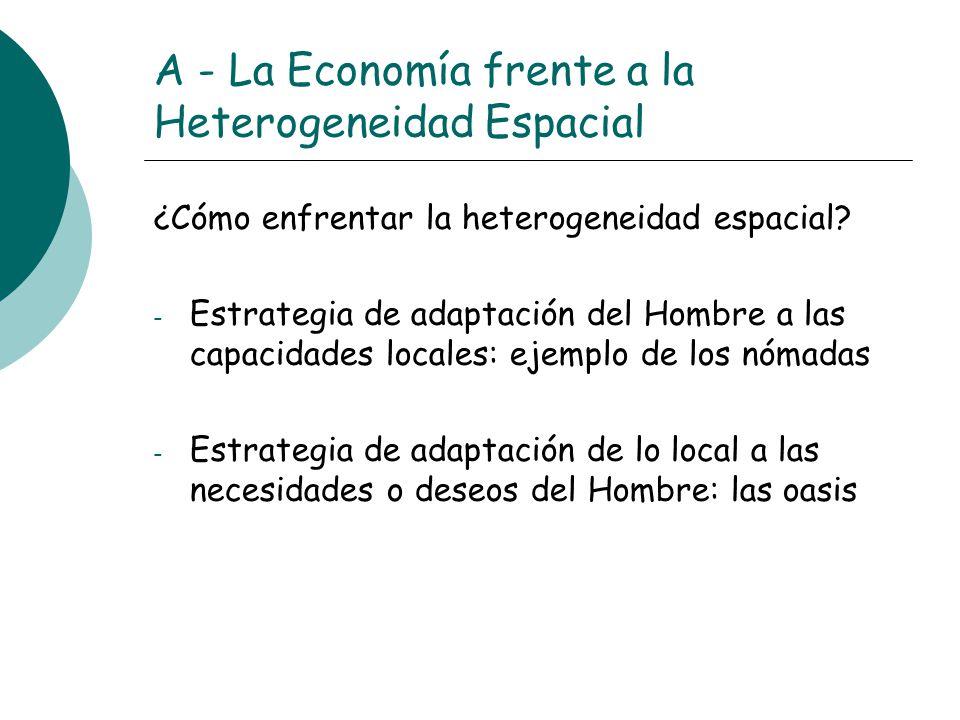 A - La Economía frente a la Heterogeneidad Espacial ¿Cómo enfrentar la heterogeneidad espacial? - Estrategia de adaptación del Hombre a las capacidade