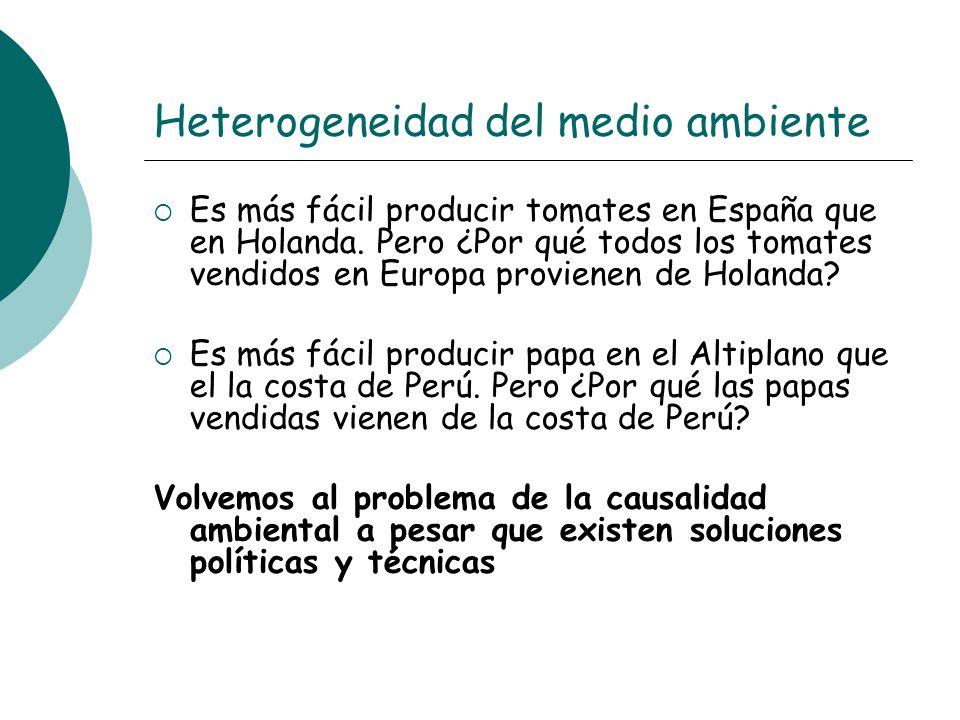 Heterogeneidad del medio ambiente Es más fácil producir tomates en España que en Holanda. Pero ¿Por qué todos los tomates vendidos en Europa provienen