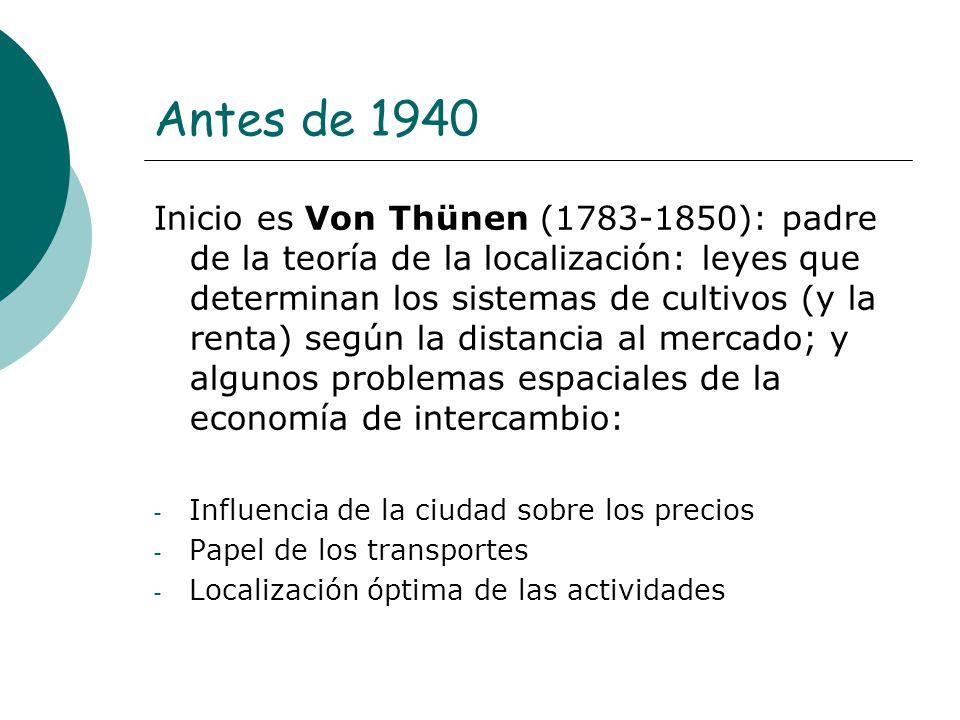 Antes de 1940 Inicio es Von Thünen (1783-1850): padre de la teoría de la localización: leyes que determinan los sistemas de cultivos (y la renta) segú