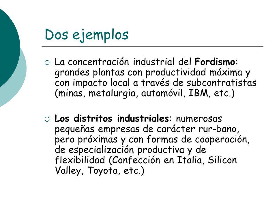 Dos ejemplos La concentración industrial del Fordismo: grandes plantas con productividad máxima y con impacto local a través de subcontratistas (minas