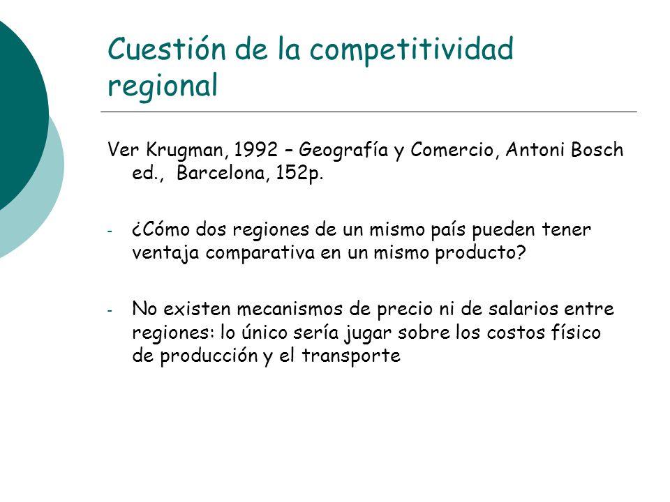 Cuestión de la competitividad regional Ver Krugman, 1992 – Geografía y Comercio, Antoni Bosch ed., Barcelona, 152p. - ¿Cómo dos regiones de un mismo p