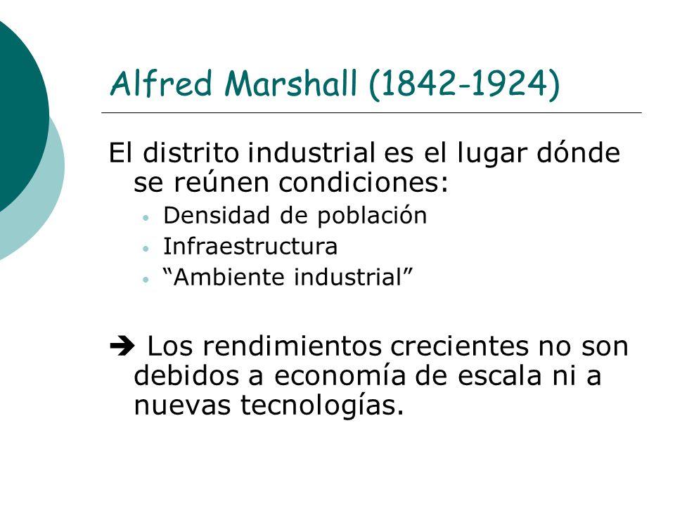 Alfred Marshall (1842-1924) El distrito industrial es el lugar dónde se reúnen condiciones: Densidad de población Infraestructura Ambiente industrial