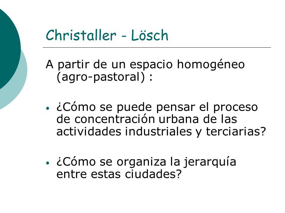 Christaller - Lösch A partir de un espacio homogéneo (agro-pastoral) : ¿Cómo se puede pensar el proceso de concentración urbana de las actividades ind