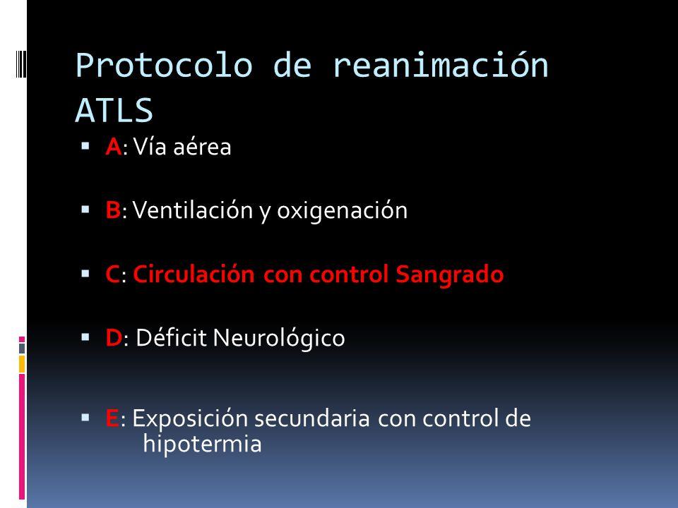 Protocolo de reanimación ATLS A: Vía aérea B: Ventilación y oxigenación C: Circulación con control Sangrado D: Déficit Neurológico E: Exposición secun