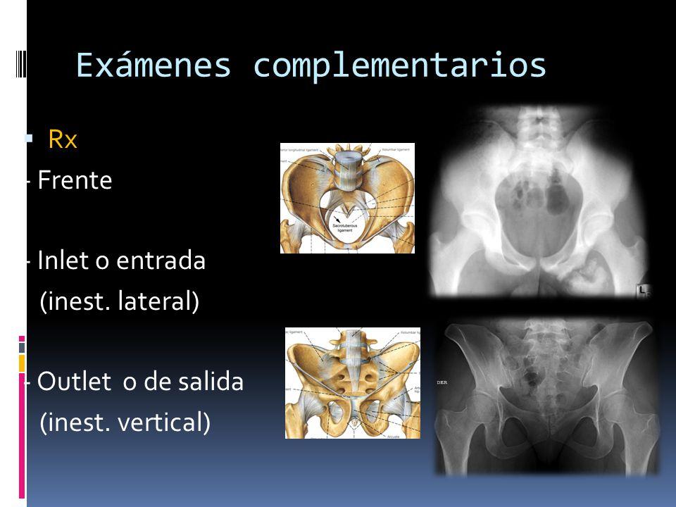 Exámenes complementarios Rx - Frente - Inlet o entrada (inest. lateral) - Outlet o de salida (inest. vertical)